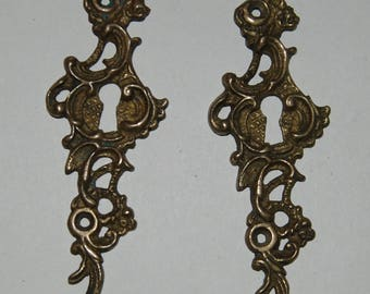 Antique Russian Brass Drawer Knob Plates, 2 pcs. XIX-XX century, St. Petersburg, Russia. Weight 65 g (e010)