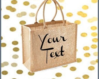 Large shimmer gold jute bag with personalised text print of choice in black, shopper bag, beach bag