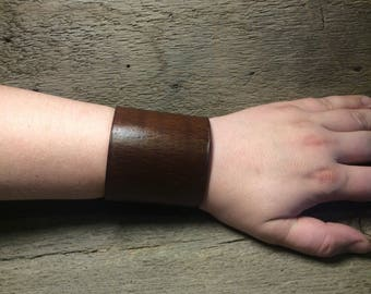 Hand Tooled Lace up Leather Wrist Cuff- dark brown