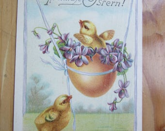 EASTER  Greeting  Postcard -  Chick in  Egg   1910ies