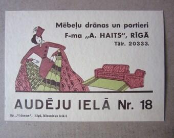 furniture Fabric Shop Advert - Reaclame card, A. Hait in Riga 1930s