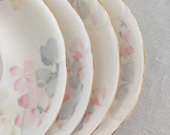 Pastel Flowers Saucers Set of 4