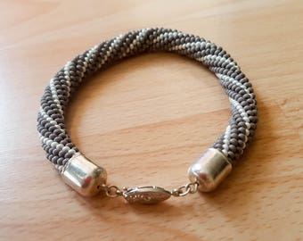 Grey/White Beaded Rope Bracelet