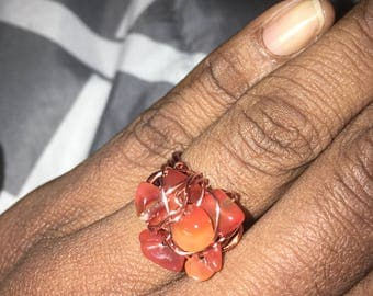Wire Wrapped Carnelian Ring