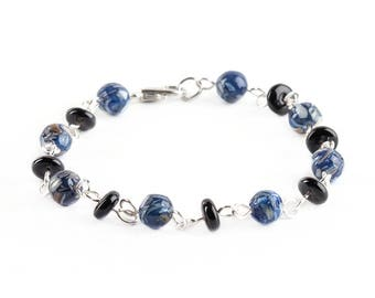 Blue Shell And Black Colored Glass Beaded Bracelets Jewelry Wire Wrapped With Silver Wire Handmade