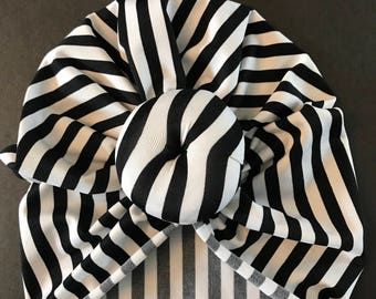 Pinstripe knotted turban