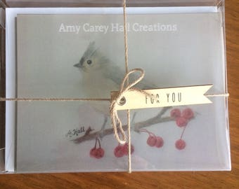 Hand-Sketched Tufted Titmouse Flat-Front Notecard Set/Blessing