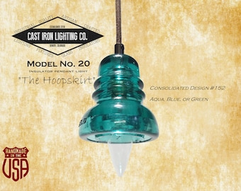 Glass Insulator Light ~ Pendant Light ~ Hemingray 40 ~ Brookfield ~ Cloth Cord ~ Vintage ~ LED Light Bulb Included