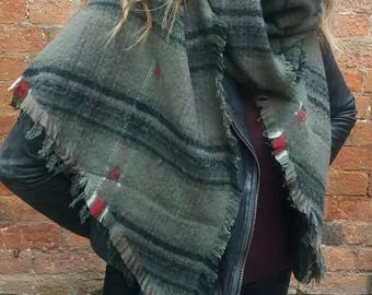 Tartan Asymetric Scarf/Wrap in Khaki. Lovely Soft Warm Woven Fabric
