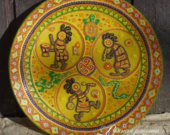 Decorative plate Africa Joy. Hand-painted Plate. Handmade. Glass Plate. Home Decor. Wall Decoration.