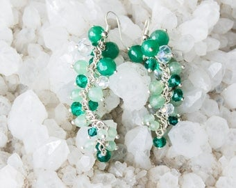Earrings with Aventurine and Crystals