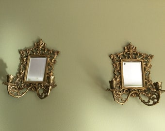 Wall Sconces Candelabra With Mirror 19th century Brass French Antique Candle holders