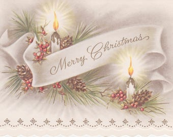 Lovely vintage 1950s Christmas card -- pine cones and candles in muted colors