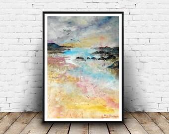 Landscape, watercolours painting, seaside