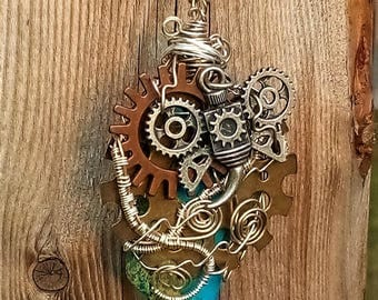 Steampunk Gears and Jasper/ Wire Wrapped Pendant/ Steampunk Fashion/ Metaphysical Healing