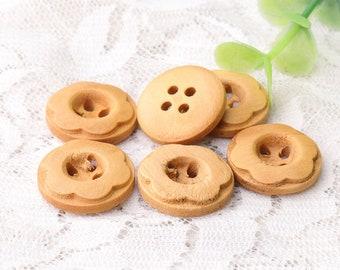 flower wood buttons natural wooden buttons 10pcs 17mm six flower petals wooden buttons 4 holes buttons