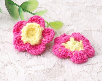 purple and yellow flower fabric brooch for children clothes baby hair accessories clothes DIY 4pcs