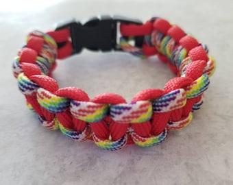 Rainbow Red Paracord Bracelet