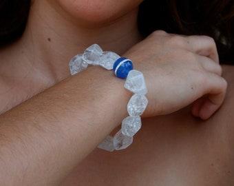 Neva Bracelet, Crystal Clear Quartz, Blue Swarovski Crystal Mirano Bead