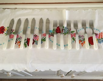 Vintage faux mother of pearl fish knives & forks