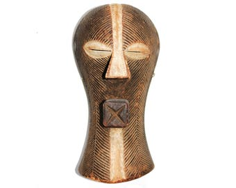 Traditional  African 'Kifwebe' D R Congo Hand Carved Ceremonial Mask / Helmet.