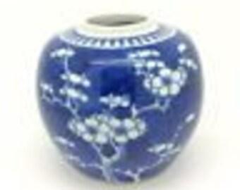 """Antique Chinese Kangxi Porcelain Ginger Jar Blue White Prunus 12cm 4.7"""""""
