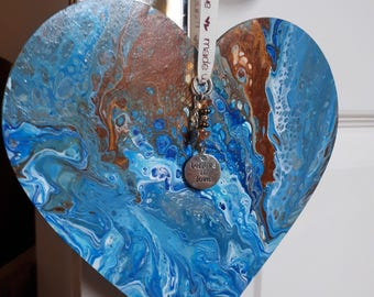 Abstract art, Hearts, Blue, Bespoke gift, Decoration, Home Decor,  Art, Unique Gift