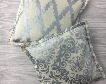 "Kozy Komfort ""Moscato"" Style Rice Heating Pad, Hand Warmer, Ice and Hot Pack, w/Metallic Geometric and Flower Pattern"