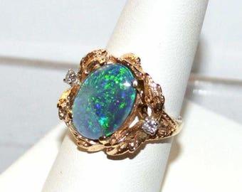 14 K Yellow Gold Opal & Diamond ring