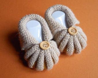 In the Dordogne Pumpkins by hand knitted baby booties - Beige and Orange