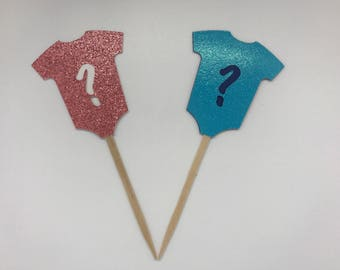 Gender Reveal Cupcake Toppers Glitter