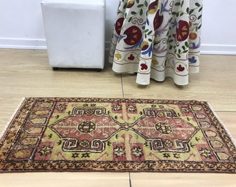 Small rug Antique 3.0x1.4 Feet,Small rug,Door Mate rug,Anatolian carpet,Free shiping