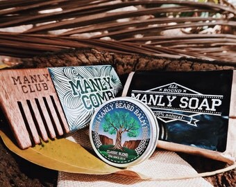 MANLY CLUB Classic Beard Kit Beard Balm Beard Wash Oak Comb Organic All Natural Beard