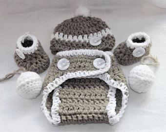 Handmade newborn crochet gift set