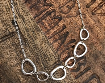 Upcycled circles necklace sterling silver