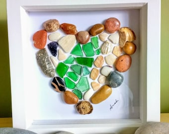 Pebble art, pebble heart picture, sea glass & shells picture, heart, beach art, wall art, gift