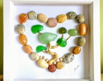 Pebble art, heart, picture, driftwood and sea glass tree, beach art, gift, wall art