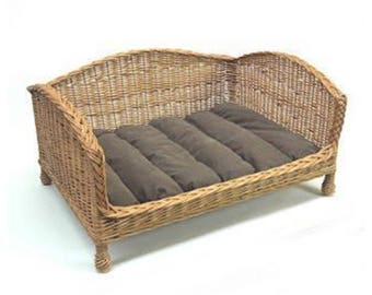 Willow Pet Bed Settee with a Dark Cushion