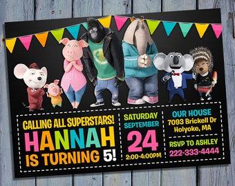 Sing Movie Invitation, Sing Movie Birthday, Singers Party, Singer Invites, Digital Card Invite, Printable Invitations, Custom Printables