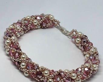 Sterling silver swarovski beaded bracelet