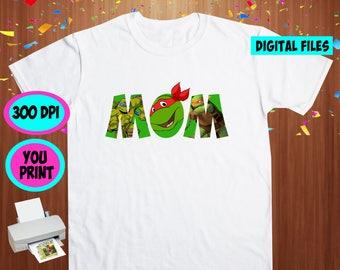 TMNT. Iron On Transfer. Tmnt Printable DIY Transfer. Tmnt Mommy Shirt DIY. Instant Download. Digital Files Only.