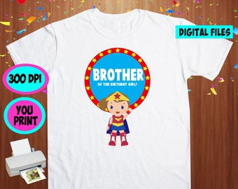 Superhero Girl. Iron On Transfer. Superhero Girl Printable DIY Transfer. Brother Shirt DIY. Instant Download. Digital Files Only.