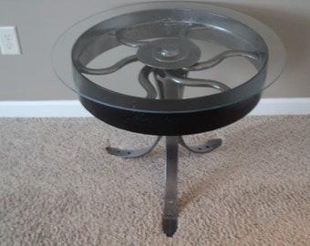 table coffeetable repurposed steel metal industrial antique funtional art welded