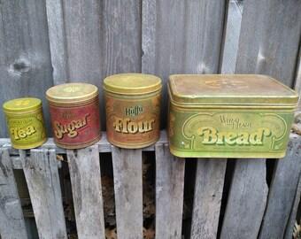 Complete set of vintage kitchen tins!