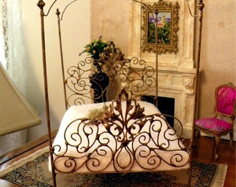 "Artisan Made 1:6 Playscale, Barbie Scale Wrought Iron Look Canopy Bed ""Tiara"""