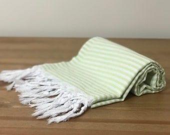 "66"" x 36""  Yakamoz  Green Cotton Bath & Beach Towel"