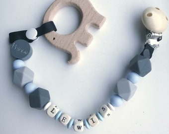 Personalised handmade dummy clip/teether, 2 in 1!