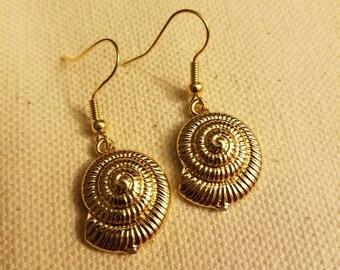 Gold seashell earrings