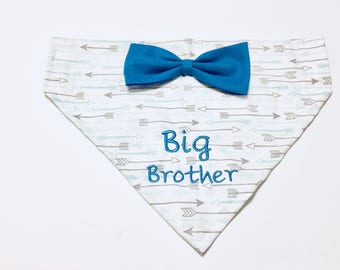 Dog Bandana, Big Brother, blue bow, Pregnancy announcement, blue and gray arrows, Baby Announcement,  Over the Collar,  Dog Gift, Dog lover