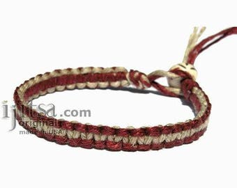 Burgundy and Natural flat Hemp Surfer Bracelet or Anklet